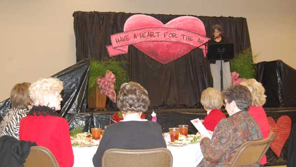 """Barbara Robinson kicks off the """"Have a Heart for the Arts"""" luncheon in Columbiana on Feb. 12. Photo by Katie McDowell"""