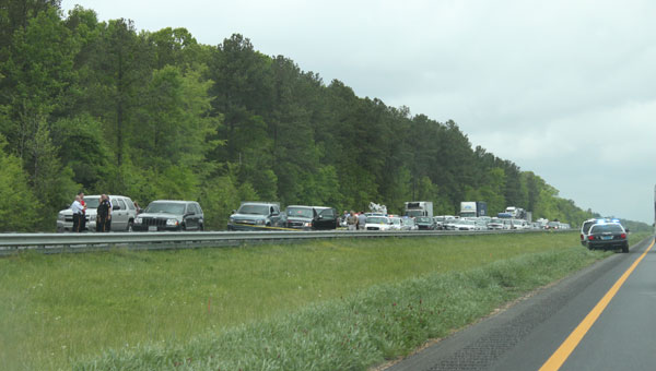 Traffic backed up on Interstate 65 in Calera between mile markers mile marker 231and 228 during Todd Miller's 2012 arrest. (File)