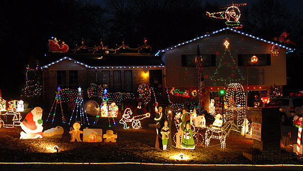 Jim Phillips' house on David Drive in Pelham is typically a favorite in the city's Christmas light competition. (File)