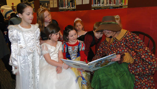 Mother Goose (Calera Library Director Janet Greathouse) read fairy tales and nursery rhymes to children attending last year's fairy tale ball. (Contributed)