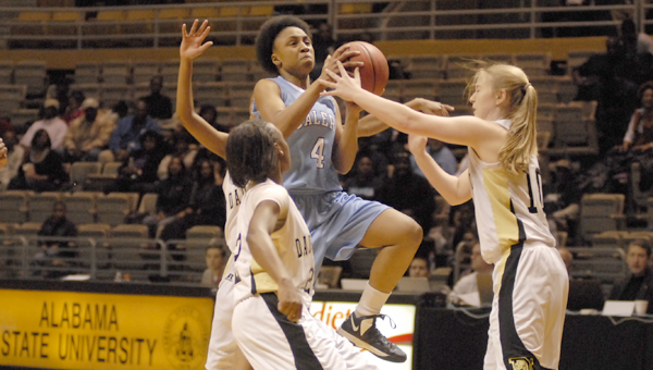 Calera's Tyesha Haynes scored 12 points in the Lady Eagles' 46-40 loss to Dadeville in their Class 4A Central Region semifinal game Feb. 20 in Montgomery. (Reporter photo/Mickel Ponthieux)
