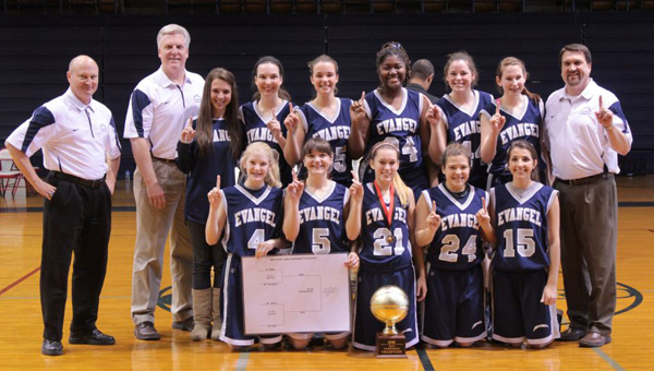 The Evangel Christian Lightning won their third Alabama Christian Sports Conference tournament championship for the third time in four years Feb. 16 at Samford Univiersity. (Contributed)