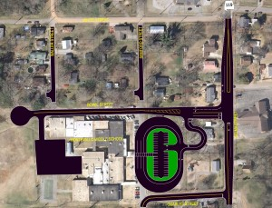 The proposed plan for rerouting traffic and building a new road in the Shoal Creek-Prentice Community to serve Montevallo Middle. (Contributed)