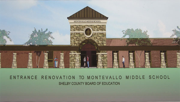 A rendering of the proposed new entrance to Montevallo Middle School. (Contributed)