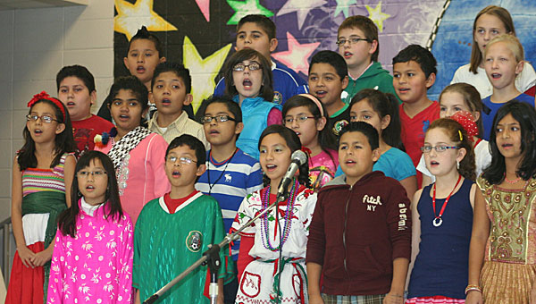 Students perform an international song during the Valley Intermediate School's Bread Festival on Jan. 25. (Contributed)