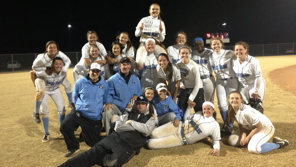 The Spain Park Lady Jags went 7-1 to win the Wetumpka tournament March 8-9 while giving head coach C.J. Hawkins her 600th career win. (Contributed)