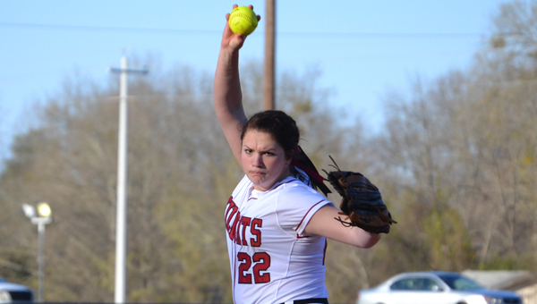 Shelby County's Kaitlyn Paschall pitched seven innings and struck out 12 batters in the Ladycats' 6-0 victory over Sylacauga March 12. (Contributed)