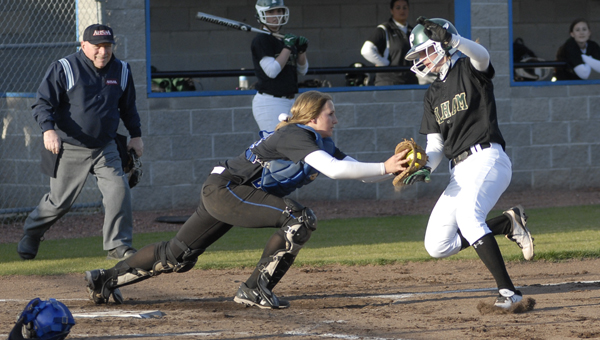 Pelham's Kristian Foster is tagged out by the Chelsea catcher in the Panthers' 9-5 area victory March 14. (Reporter photo/Mickel Ponthieux)