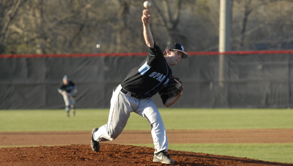 Spain Park's Mason Duke pitched four innings allowing five earned runs on seven hits with four strikeouts in a no-decision in the Jaguars' 8-7 victory over Thompson March 16. (Reporter photo/Mickel Ponthieux)
