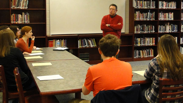 Author Robert Inman, a native Alabamian, talks with Calera High School students about key components of the writing process. (contributed)