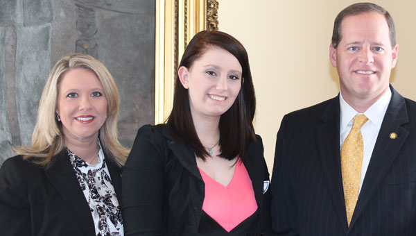 Representative April Weaver, PHS Senior Ashley Leach and Senator Cam Ward share a congratulatory moment before Leach accepts one of only six Alabama High School Literary Arts Awards Scholarships presented statewide. (Contributed)