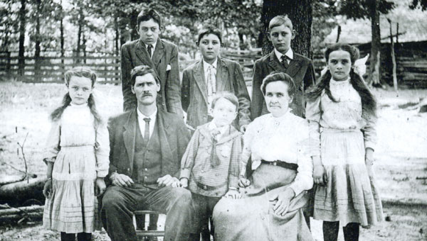 This family portrait of the Sylvester Lindsey family shows, back from left, Sterling, Clarence, Lathan, and front from left, Minnie, Sylvester, John (Buster), Rhoda and Lillian. The Penhale Museum thanks Bobby and Brenda Lindsey and George and Martha Lindsey Patridge of Jasper, for making available their family history documents and photographs. (Contributed)