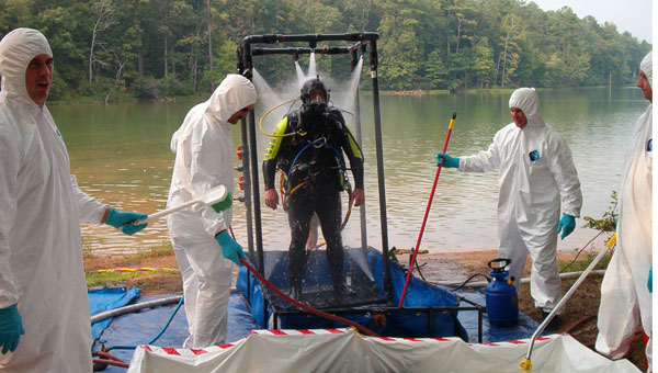 The Calera dive team trains for HAZMAT situations at Oak Mountain State Park. (Contributed)