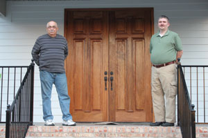Lloyd Smith and Pastor Michael Goode anticipate opening the doors of New Bethesda Baptist Church's new sanctuary March 17. (Reporter photo/Christine Boatwright)