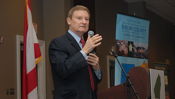 U.S. Congressman Spencer Bachus, R-Alabama, speaks during a March 27 Greater Shelby County Chamber of Commerce lunch at the Pelham Civic Complex and Ice Arena. (Reporter Photo/Neal Wagner)