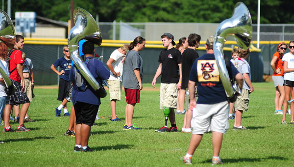 Chris Goodwin worked with the band members at Shelby County High School's band camp before school started in fall 2012. (Reporter photo/Jon Goering)