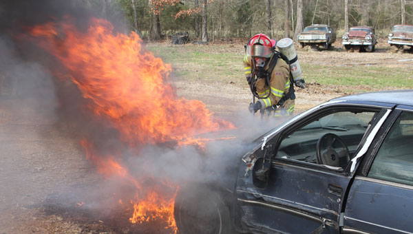 A Calera firefighter trains during a live fire training March 7. (Contributed/Sean Kendrick)