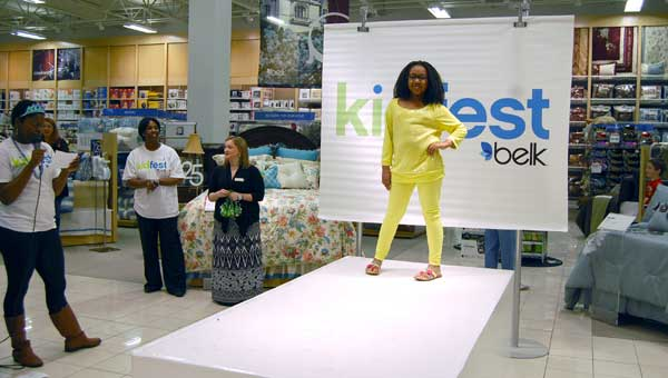 Precious Atchison walks the runway during Alabaster Belk's KidFest on March 16. (Photo by Katie McDowell.)