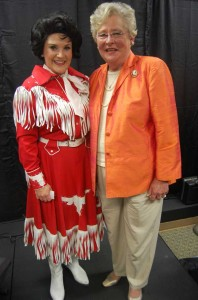"""The Shelby County Arts Council celebrated the opening of its new performance space with """"Songs of Patsy Cline"""" performed by Emily Kay Herring, pictured h ere with Lt. Gov. Kay Ivey. (Photo by Heather Buckner.)"""