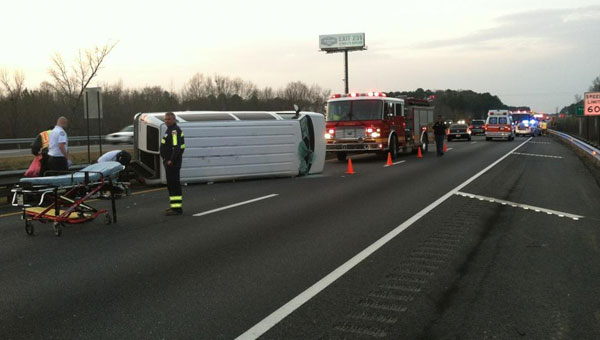 Twelve people were transported to the hospital after a March 9 wreck on Interstate 65 in Calera. (Contributed photo)