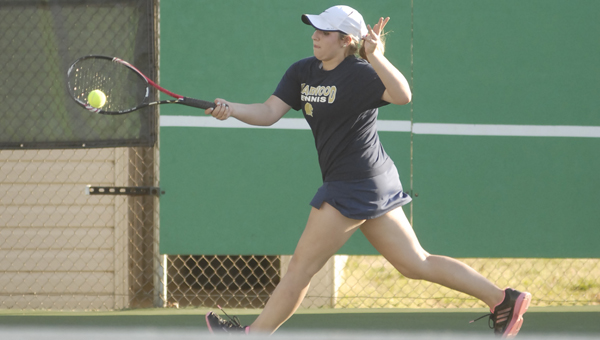 Briarwood's Ashley Ochsenhirt led her team to the Shelby County girls tennis tournament championship April 1 at the Pelham Tennis Center. Ochsenhirt defeated Thompson's Laura Harwell in the No. 1 single championship match.