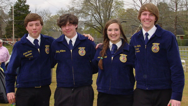 Enjoying Farm Day are members, from left, Lucas Sears, Bailey Williams, Lena Buttgereit and Joshua Weeks. (contributed)