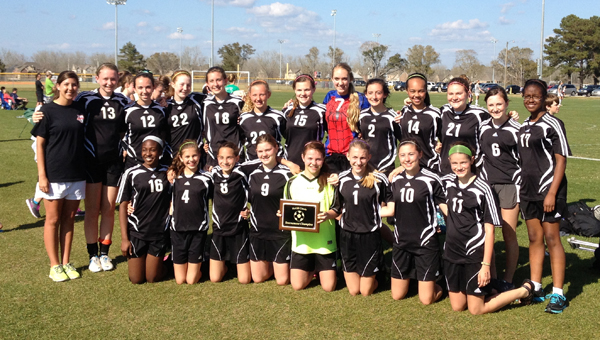 The Thompson High School girls' junior varsity soccer team claimed the McGill Classic tournament championship March 16 in Daphne.  Pictured are, front row from left, Meghan Cottingham, Emma Mayer, Melanie Brannon, Mardi Gornati, Kenzie Coggins, Lauren Talley, Juli Tatum and Amari Graber. Back row, Coach Emily Morrow, Anna Milliron, Kelly Wanhatalo, Gracie Blasing, Maddie Durham, Peyton Poe, Jessie Hardin, Leah Warman, Ashleigh Thomas, Allison McCrimmon, Marjorie Morgan, Mackenzie Andrews and Randi Ford. (Contributed)