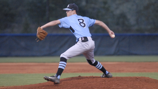 Spain Park's Josh Rich pitched a complete game in the Jaguars' 12-1 area victory over Chelsea April 10. Rich surrendered one run on three hits with seven strikeouts. (Reporter photo/Mickel Ponthieux)