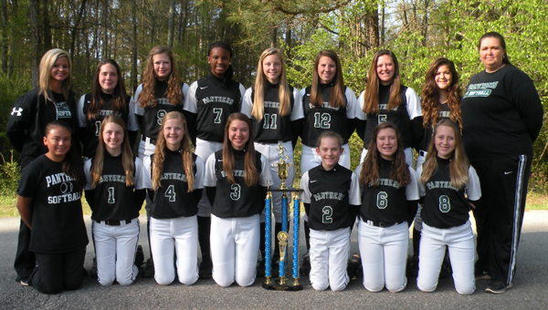 The Riverchase Middle School Panthers softball team won its first Southern Conference Middle School championship with 12-7 victory over Chelsea April 6. (Contributed)