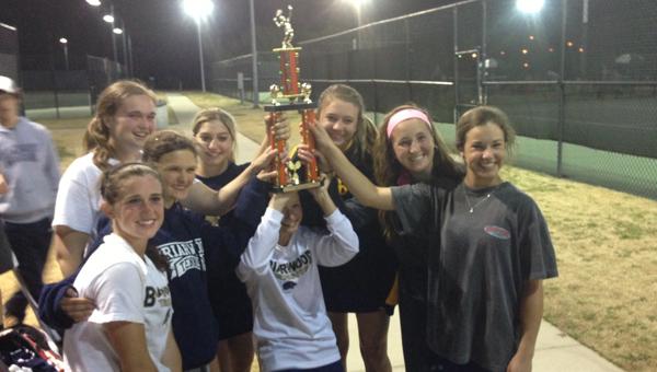 The Briarwood Christian School girls' tennis team celebrates after winning the Austin High School tennis tournament April 6. (Contributed)