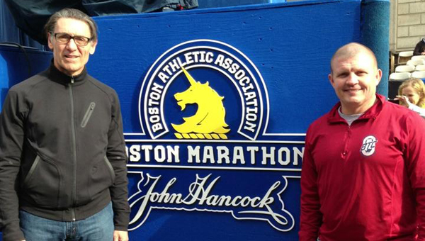 Chelsea resident Randy Lyle (right) and friend Jack Burnette of Vestavia post for a picture at the finish line of the Boston Marathon on April 14, a day before the race. (Contributed)