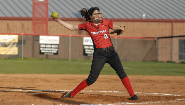 Thompson's Sam Kusiah pitched seven innings and allowed two unearned runs on three hits with nine strikeouts and two walks in the Warriors' 2-1 loss to Wetumpka April 2. (Reporter photo/Mickel Ponthieux)