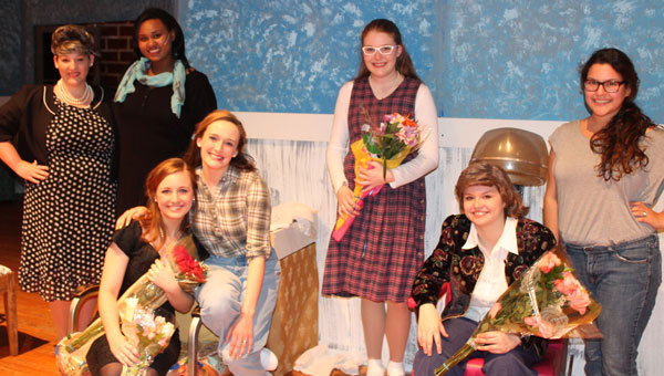 """The cast of the PHS Theatre Department's production of """"Steel Magnolias"""" included Maddie Harper, Marissa Williams, Emily Jacks, Lydia Cobb, Blaine Elward, Caylin Cobb and director Hunter Savage. (contributed)"""
