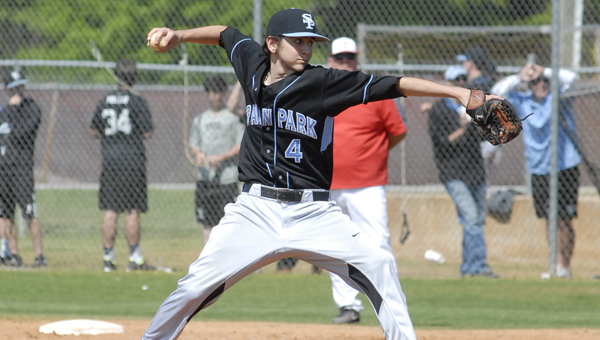 The Spain Park Jaguars' Trey Hawker pitched seven innings in a 5-4 victory in game-two of their Class 6A first round playoff series against the Thompson Warriors. (Reporter photo/Mickel Ponthieux)