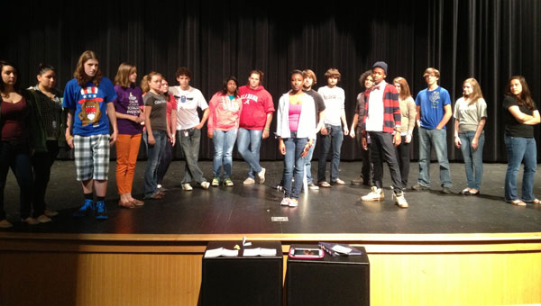 "Calera High School Theater Program students practice the one act play ""The Lottery."" (contributed)"