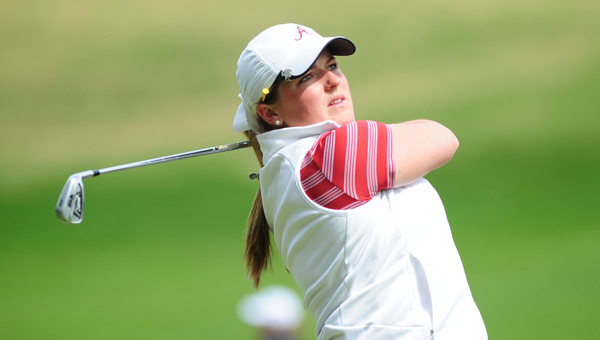 Alabama junior Hannah Collier - a Spain Park graduate - finished in a tie for 14th after winning the third round at the 2013 SEC Women's Golf Tournament at Greystone's Founders Course April 21. (Reporter photo/Jon Goering)
