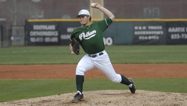 Pelham's Jack Pierce pitched five inning while allowing a run on four hits with five strikeouts in the Panthers' 5-1 area victory over Spain Park. (Reporter photo/Mickel Ponthieux)