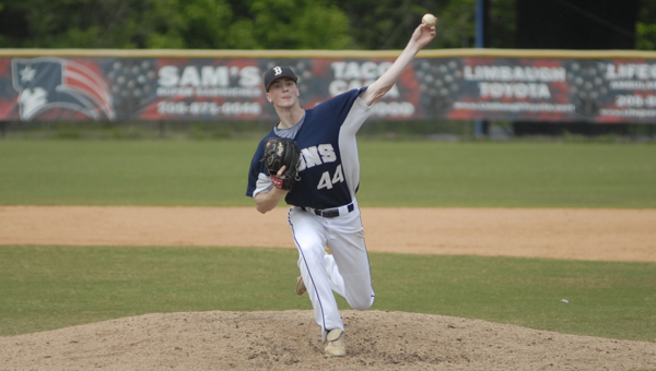 Briarwood Christian pitcher Cleveland Milstead threw two and two-thirds innings and allowed one run on three hits in the Lions' 10-9 game three loss to Homewood April 27. (Reporter photo/Mickel Ponthieux)