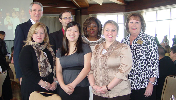 Among a large group of Shelby County leaders attending the B&G Clubs luncheon were, back row from left, Joe Williams, chairman of the BGCM Advisory Board; Gary Minnick, Montevallo High School principal; Sheila Lewis, Montevallo Middle School principal; and Carol Bruser, University of Montevallo career and community services liaison. In the front row are, from left, Allison Campbell, Montevallo Elementary School principal; Xan Shivers, Youth of the Year from the Montevallo Boys and Girls Club; and Haley Franks, Montevallo Elementary assistant principal. (Contributed photo)