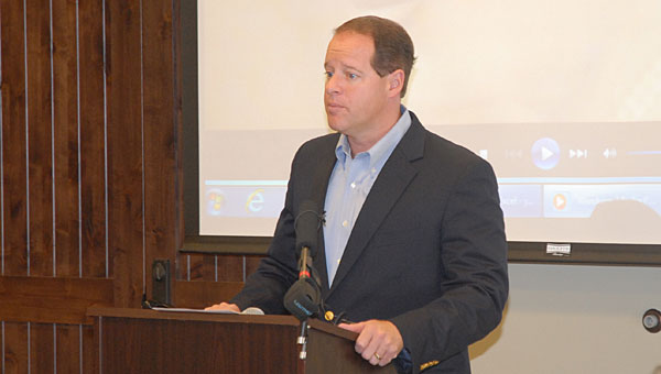 State Sen. Cam Ward, R-Alabaster, speaks during an April 22 press conference at the Alabaster Senior Center. During the conference, Ward touted a bill he sponsored aimed at more heavily prosecuting exploitation of senior citizens. (Reporter Photo/Neal Wagner)