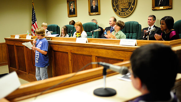 Valley Intermediate School fifth-graders speak at a past Youth Government Day at Pelham City Hall as former City Council members look on. (File)