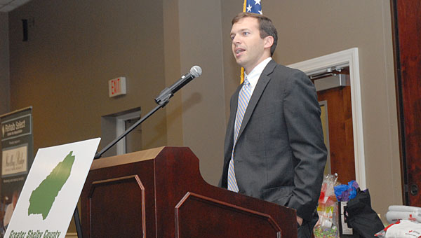 Dr. James Colvard, of Oak Mountain Family Medicine, speaks during an April 24 Greater Shelby County Chamber of Commerce lunch at the Pelham Civic Complex and Ice Arena. (Reporter Photo/Neal Wagner)