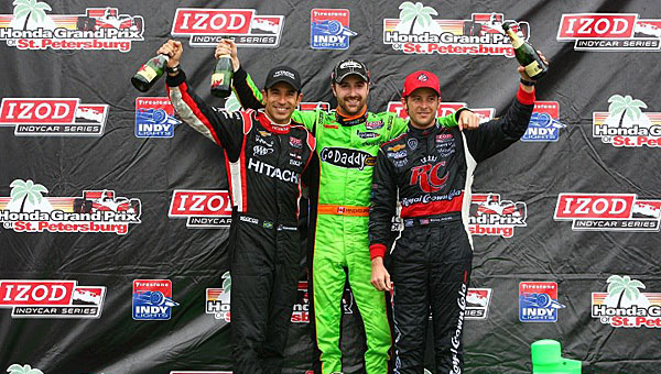 IZOD Indy Car driver James Hinchcliffe, center, will visit Alabaster's Legacy Credit Union on April 4. Hinchcliffe won the 2013 Indy Car season's inaugural race. (Contributed)