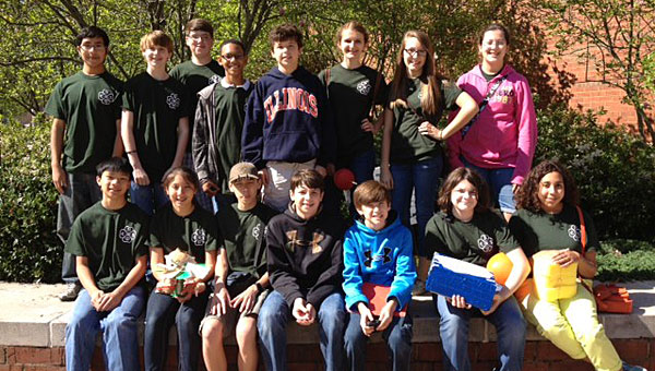 Riverchase Middle School student Jacqui Adan, front row, second from left, won in the UAB egg drop competition in March. (Contributed)