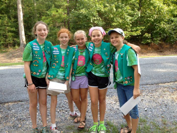 Members of Girl Scout Troop 597 Shelby Lovette, Emily Lamberson, Lindsey Burt, Callie Smith and Abigayle Hyche, Chelsea Intermediate School fifth-graders, will be presented on April 21 with the top award a junior Girl Scout can earn. (contributed)
