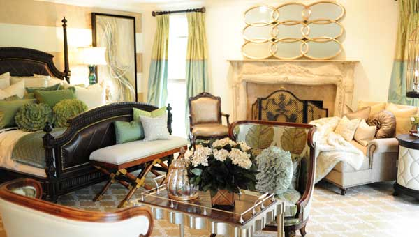 """Mantooth Interiors decorated the master bedroom as a """"sophisticated look for the modern woman."""" (Photo by Jon Goering.)"""