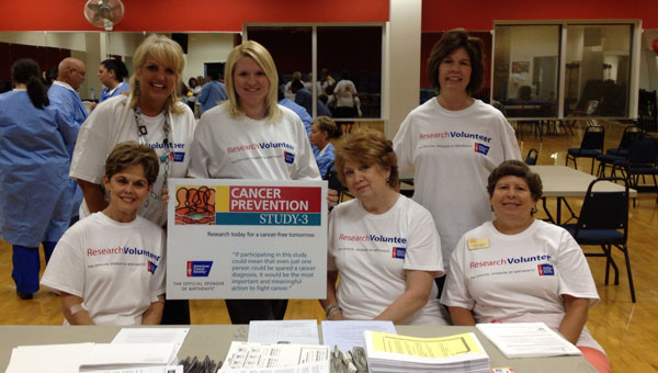 The Shelby Women's League recently volunteered at the Greystone YMCA to help with a research study conducted by the American Cancer Society. Top row, from left, are Lisa Phillips, Melanie Dickinson and Elizabeth Roland. Bottom row, from left, are Vickie Everett, Ann Langford and Lynn Ray.  (Contributed photo)