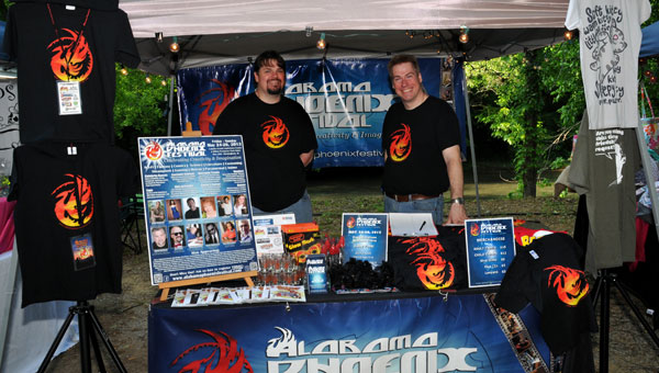 Steve Charleston, CEO, and Tim Stacks, COO, promoted their upcoming Alabama Phoenix Festival at Buck Creek Festival. (contributed)