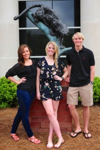 From left, Katherine, Paige and Connor Burleson. (Reporter photo/Jon Goering)
