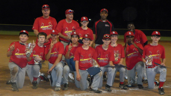 The Alabaster Youth League 13-14-year-old baseball championship was captured by the Cardinals. (Contributed)
